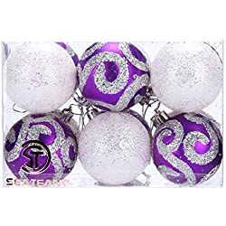 Sea Team 60mm Shatterproof Painting & Glitering Shatterproof Christmas Ornaments Christmas Balls, 12-Pack, Purple & White