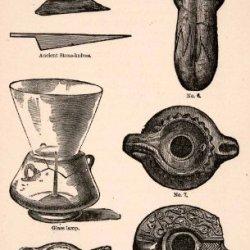 1873 Wood Engraving Ancient Knives Lamps Ink Bottles Israel Tools Artifacts Jews - Original Engraving