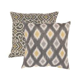 Pillow Perfect Damask And Rodrigo 16.5-Inch Throw Pillows, Graphite, Set Of 2