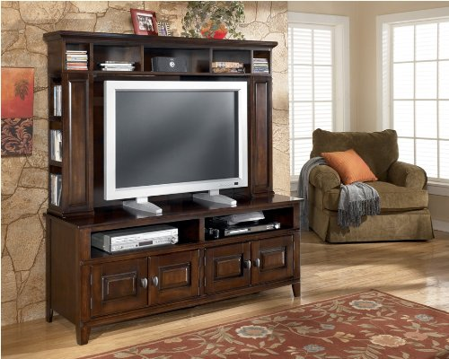 Image of Dark Brown TV Stand with Hutch (ASLYW442-21_W442-21H_2PC)
