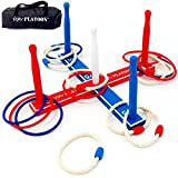 Ring Toss Game with Carry Bag - TWO SETS of 8 Rings (Rope and Plastic)