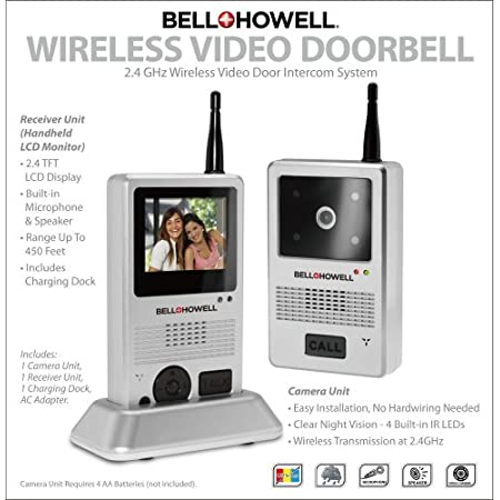 The Bell + Howell 2.4 GHz Digital Wireless Video Door Phone System/ Doorbell is a home door phone system with a built-in microphone, speaker and high resolution color CMOS camera. With its excellent picture quality you can now monitor who is at your ...