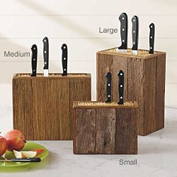 "Reclaimed Wood Knife Block, Large 8.25""L X 5.5""W X 11""H"
