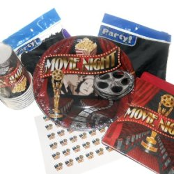 Movie Night Birthday Party Supplies - Plates, Napkins, Silverware, Cups, Tablecover, & Matching Kiss Labels Favors
