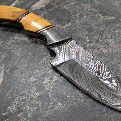 Damascus Steel Hunting Knife Wood Handle W/Sheath Bc828