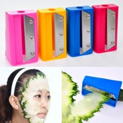 Domire Portable New Facial Beauty Fruit Cucumber Face Mask Slicer Knife Blade Razor Beauty Items (Pink)