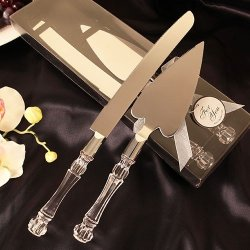 Wedding Cake Knife And Server Heart Shaped Set Stainless Steel Acrylic Handle Wedding Reception Party Keepsake