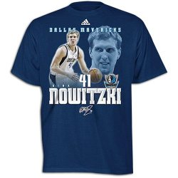 Nba Adidas Dirk Nowitzki Dallas Mavericks #41 Net Number T-Shirt - Navy Blue (Xx-Large)