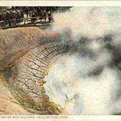 Crater Of Mud Volcano Yellowstone National Park Wyoming Original Vintage Postcard