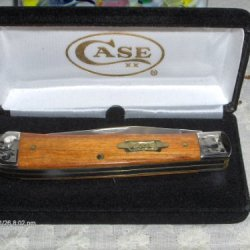 W.R. Case Xx Knives Trapper Smooth Teak Wood Handles Scrolled Bolsters Brass Shield Sfo