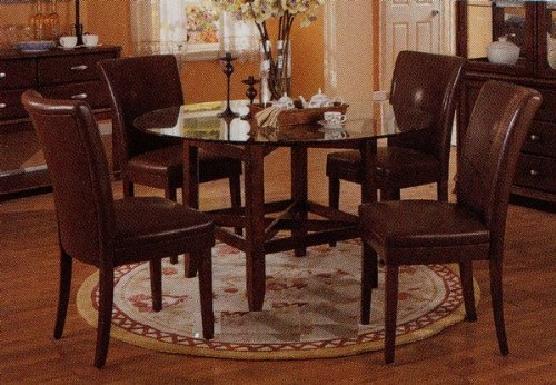 Image of Mira Dining 5 Piece Set with 10mm Clear Beveled Round Glass Table Top in Cherry Finish - Coaster Co. (VF_AZ00-7539x30719)