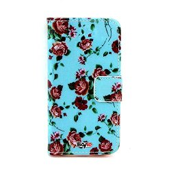 Bayke Brand / Samsung Galaxy S5 Sv Fashion Print Design Pu Leather Wallet Type Magnet Flip Case Cover With Credit Card Holder Slots (Blue Pattern Rose Designs Flower Art Print)