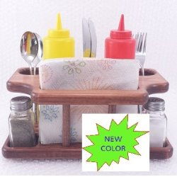 8Pc Table Caddy Red Chestnut (Stained Pine Wood) - Ketchup Mustard Salt Pepper Utensils Napkins Holder