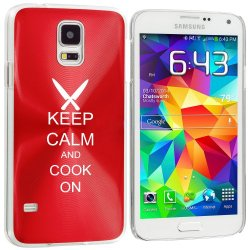Samsung Galaxy S5 Aluminum Plated Hard Back Case Cover Keep Calm And Cook On Chef Knives (Red)