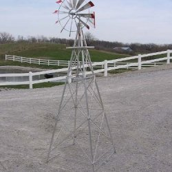 8 Ft Made In The Usa Premium Aluminum Decorative Garden Windmill-Red Trim