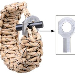 The Friendly Swede (Tm) With Fire Starter And Sharp Eye Knife (Stainless Steel Grade Ss304) - Extra Beefy / Wide / Thick Adjustable Premium 500 Lb Paracord / Para-Cord Survival Bracelet - Adjustable Size Fits 7-9 Inch Wrists In Retail Packaging (Desert Ca