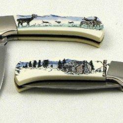 Scrimshaw By Sabre Deer Pocket Knife