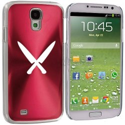 Samsung Galaxy S4 S Iv Aluminum Plated Hard Back Case Cover Chef Knives (Rose Red)