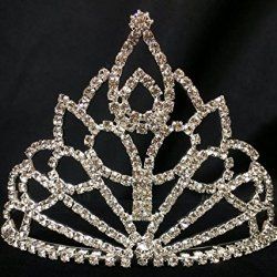 Silver Rhinestones Pointed Shaped Tiara Princess Crown Sweet 16 15Th Birthday