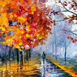 Warm Rainning Time Art Wall Decorative Canvas Knife Paintng On Canvas 39X24In/97.5X60Cm Unframed