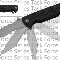 "P-223-Bs ""Task-Force"" Military Kntqokpuc Style Tactical Action Folder Black & Silver Folding Knife Edge Sharp Steel Ytkbio Tikos567 Bgf 8.5"" Black ""Task-Force"" Military Style ""Tactical"" Action Folder. High Quality Tactical Folding Knife Black Handle With"