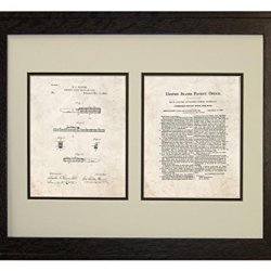 "Combined Pocket Knife And Rule Patent Art Old Look Print In A Rustic Oak Wood Frame (16"" X 20"")"