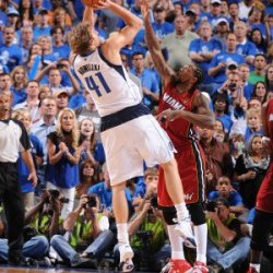 Miami Heat V Dallas Mavericks - Game Three, Dallas, Tx -June 5: Dirk Nowitzki And Udonis Haslem Photographic Poster Print By Andrew Bernstein, 8X12