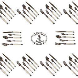 French Laguiole Dubost - Ivory Color - Complete Flatware Set For 10 People (50 Pcs) - Stainless Steel (Official Authentic Laguiole Jean Dubost - Full Family Quality White Colour Dinner Table Cutlery Setting) - Direct From France