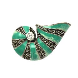 Sterling Silver Alternating Green Enamel & Marcasite Shell Pin W/Cz Stone