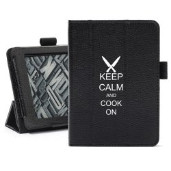 Black Amazon Kindle Paperwhite Leather Magnetic Case Cover Stand Keep Calm And Cook On Chef Knives