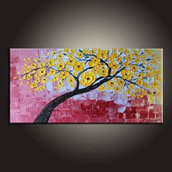Fine Art Palette Knife Unframed Wall Art Deco Home Decoration With Yellow Petal 8X16 In/20X40Cm