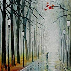 Fog In The Park Oil Paintings Modern Canvas Wall Art Decor For Home Decoration Palette Knife On Canvas 20 X 36 In Unframed