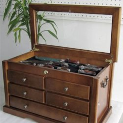 Collector'S Choice Knife Display Case Cabinet, Storage Cabinet, Solid Wood, Gallery Quality