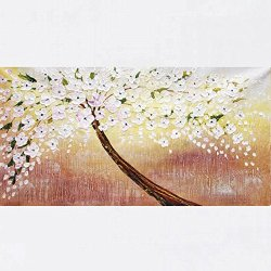 Xm Art-Innovative White Plum Tree Palette Knife Landscape Oil Painting On Canvas Wall Art Deco Home Decoration(Unstretch And No Frame)