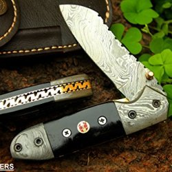 "Dkc-57 Black Hornet Damascus Folding Pocket Knife 4.5"" Folded 7.5"" Long 7.6Oz Oz High Class Looks Incredible Feels Great In Your Hand And Pocket Hand Made Dkc Knives Tm"