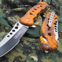 Tac-Force Assisted Opening Linerlock Design A/O Speed Rescue Glass Breaker Knife - Black And Orange
