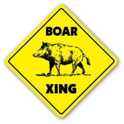 Boar Crossing Sign Xing Gift Novelty Pig Hog Wild Hunter Hunt Tusk Trap Kill