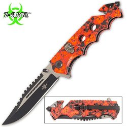Red Skulls Zombie Slayer Rescue Pocket Knife Assisted Opening