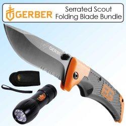 Gerber Gb-31-000754 Scout Folding Blade Serrated Bundle With Uzi 9 Led Flashlight