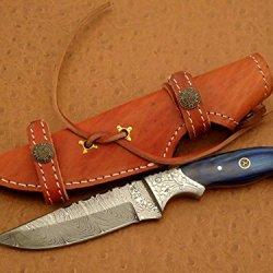 Custom Handmade Damascus Steel Hunting Knife, Skrimshawed Bolster, Blue Color Wood Handle Material