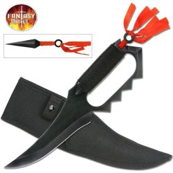 "Fm-490 Asuma Sarutobi Fighter Knife 2Drhbj3Pa With Hidden Throwers Ayeuiu56 Hlbv23Rt Black Coated G8Omusojbv Steel Construction.Cord Wrapped Handle With Hilad Knuckle Guard (2) Hidden Throwing Darts With Red Cord Wrap11-1/2"" Overall Nylon Sheath"