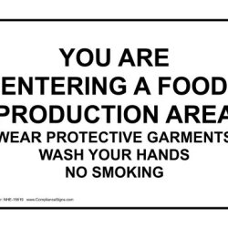 Compliancesigns Vinyl Food Prep / Kitchen Safety Label, 10 X 7 In. With English, White