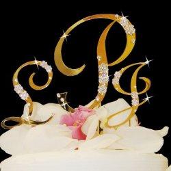 Raebella Weddings Sparkling Silver Fully Covered Swarovski Crystal Letter Single Initial & French Flower Accent Heart Cake Topper Keepsake Set + Bonus Complimentary White Metal Love Design Photo Frame