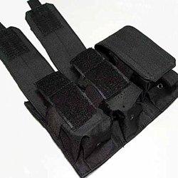 Onetigris Molle Triple Pistol Mag Pouch Accessory Kit Debris Bag Backpack Attachment (Black)