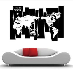 Map Of The World Vinyl Wall Sticker Art Decal New Giant Stencil Vinyl Mural [Top-Me]-8120