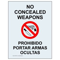 Compliancesigns Clear Vinyl Concealed Carry Window Cling, 7 X 5 In. With English + Spanish