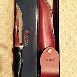 """Cutco Model 1769 Hunting Knife With Leather Sheath In White Cutco Gift Box..........Classic Brown Handle (Sometimes Called Black)..............5-3/8"""" Double-D® Serrated Blade"""