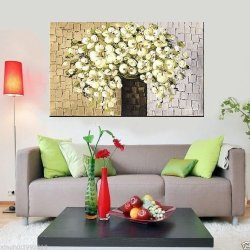 100% Hand-Painted Best-Selling Quality Goods Free Shipping Wood Framed On The Back Pure And Fresh And Knife To Draw A Small White Flowers High Q. Wall Decor Landscape Oil Painting On Canvas 4Pcs/Set Mixorde
