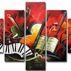 Sangu 100% Hand Painted Wood Framed 5-Piece Hot Sale Modern Musical Family For Abstract Oil Painting Gift Canvas Wall Art For Home Decoration