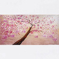 Xm Art-Miss Pink Tree Landscape Palette Knife Landscape Oil Painting On Canvas Wall Art Deco Home Decoration(Unstretch And No Frame)